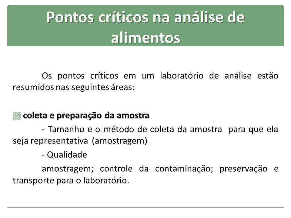 Pontos críticos na análise de alimentos Os pontos críticos em um laboratório de análise estão resumidos nas seguintes áreas: coleta e preparação da am