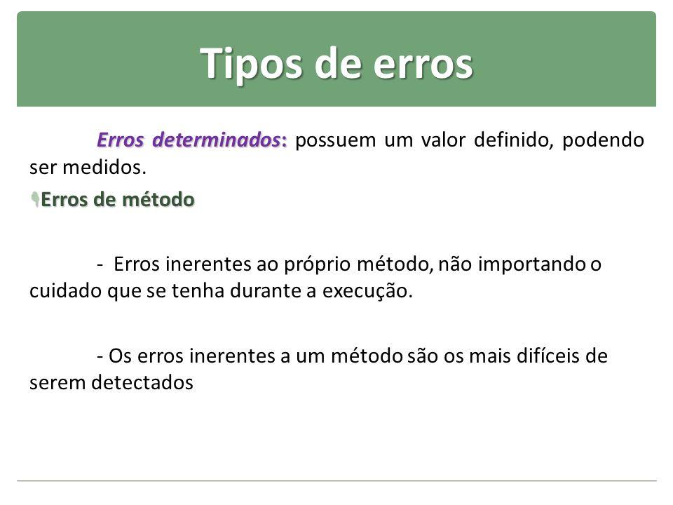 Tipos de erros Erros determinados: Erros determinados: possuem um valor definido, podendo ser medidos. Erros de método Erros de método - Erros inerent