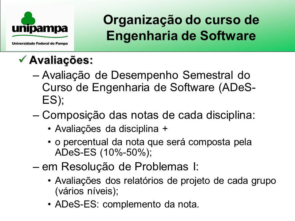 Organização do curso de Engenharia de Software Avaliações: Avaliações: –Avaliação de Desempenho Semestral do Curso de Engenharia de Software (ADeS- ES