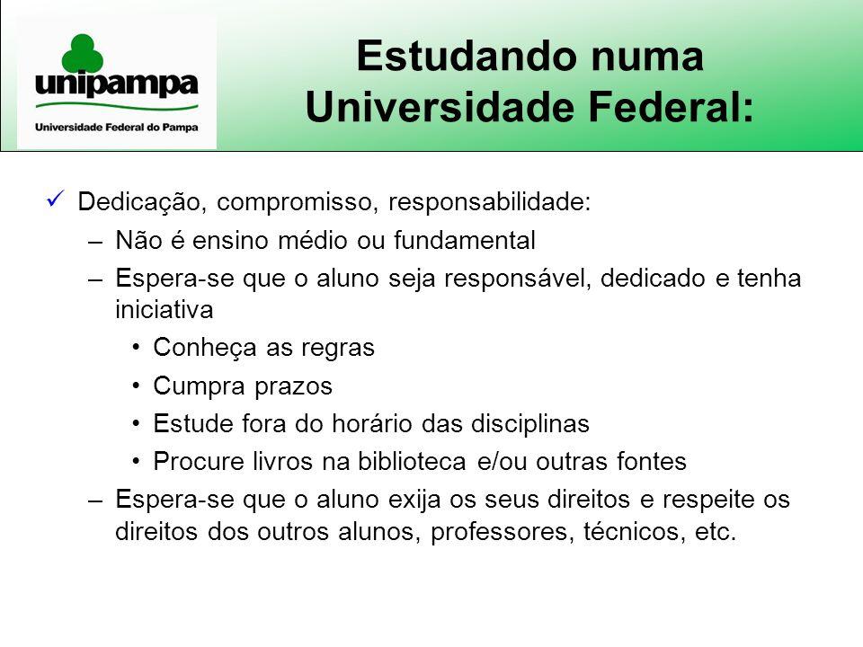 Estudando numa Universidade Federal: Dedicação, compromisso, responsabilidade: –Não é ensino médio ou fundamental –Espera-se que o aluno seja responsá