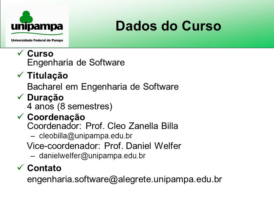 Dados do Curso Curso Engenharia de Software Titulação Bacharel em Engenharia de Software Duração 4 anos (8 semestres) Coordenação Coordenador: Prof. C