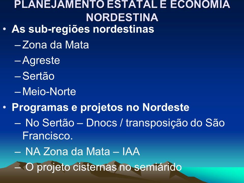PLANEJAMENTO ESTATAL E ECONOMIA NORDESTINA As sub-regiões nordestinas –Zona da Mata –Agreste –Sertão –Meio-Norte Programas e projetos no Nordeste – No