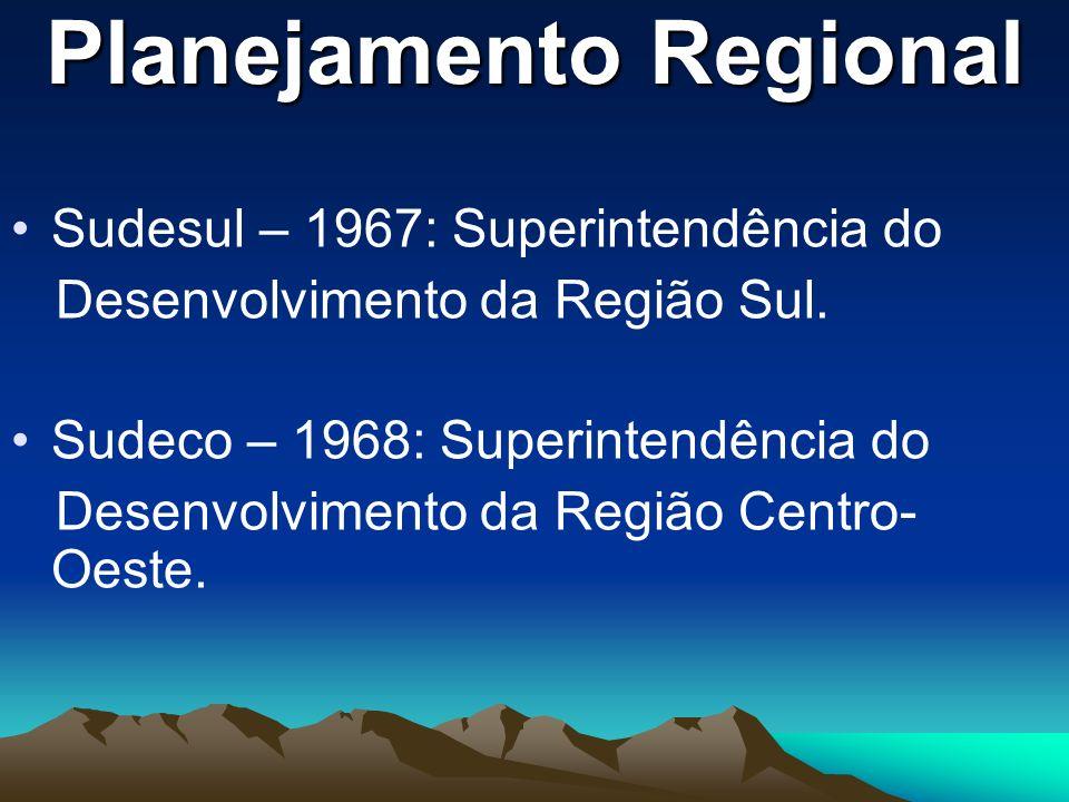 Planejamento Regional Sudesul – 1967: Superintendência do Desenvolvimento da Região Sul. Sudeco – 1968: Superintendência do Desenvolvimento da Região