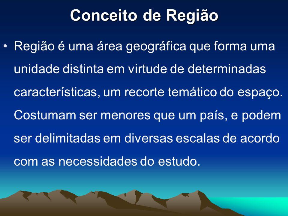 Conceito de Região Região é uma área geográfica que forma uma unidade distinta em virtude de determinadas características, um recorte temático do espa