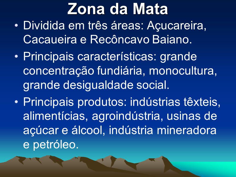 Zona da Mata Dividida em três áreas: Açucareira, Cacaueira e Recôncavo Baiano. Principais características: grande concentração fundiária, monocultura,