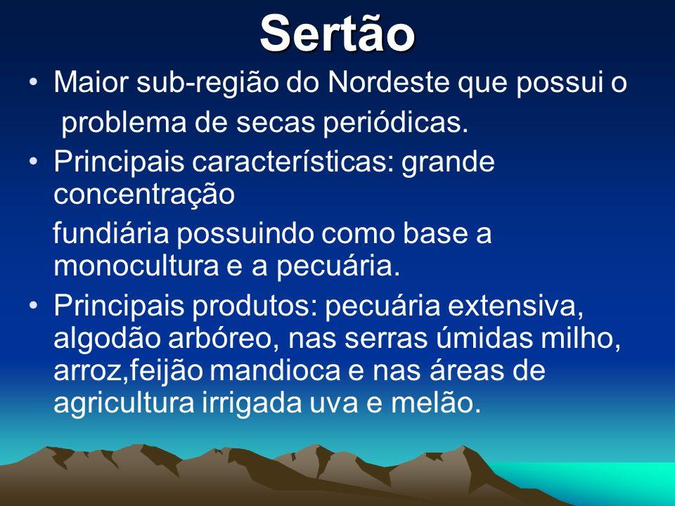 Sertão Maior sub-região do Nordeste que possui o problema de secas periódicas. Principais características: grande concentração fundiária possuindo com