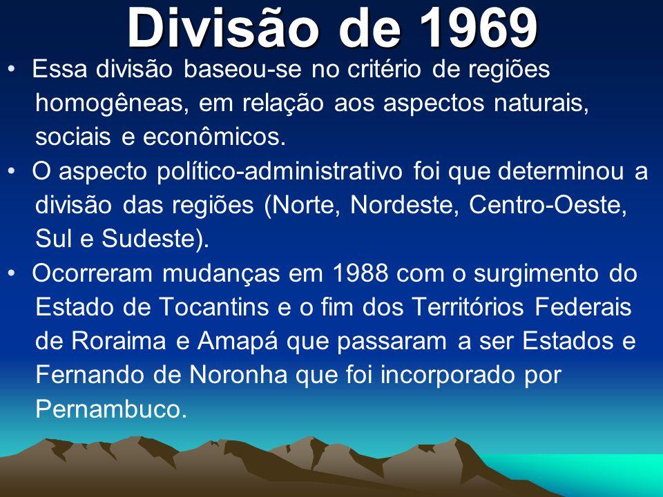 Divisão de 1969 Essa divisão baseou-se no critério de regiões homogêneas, em relação aos aspectos naturais, sociais e econômicos. O aspecto político-a