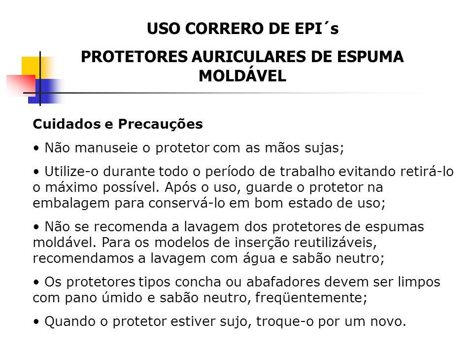 USO CORRERO DE EPI´s PROTETORES AURICULARES DE ESPUMA MOLDÁVEL Usando o dedo indicador mantenha-o nesta posição (aproximadamente por 30 segundos) até