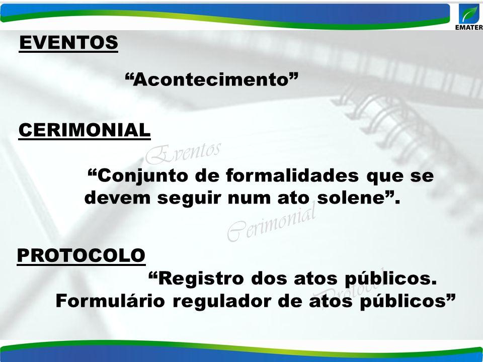 Eventos Cerimonial Protocolo EVENTOS Acontecimento CERIMONIAL Conjunto de formalidades que se devem seguir num ato solene. PROTOCOLO Registro dos atos