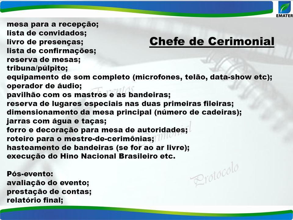 Eventos Cerimonial Protocolo mesa para a recepção; lista de convidados; livro de presenças; lista de confirmações; reserva de mesas; tribuna/púlpito;