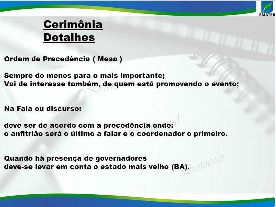 Eventos Cerimonial Protocolo Cerimônia Detalhes Ordem de Precedência ( Mesa ) Sempre do menos para o mais importante; Vai de interesse também, de quem