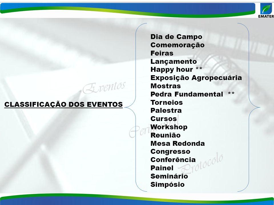 Eventos Cerimonial Protocolo CLASSIFICAÇÃO DOS EVENTOS Dia de Campo Comemoração Feiras Lançamento Happy hour ** Exposição Agropecuária Mostras Pedra F