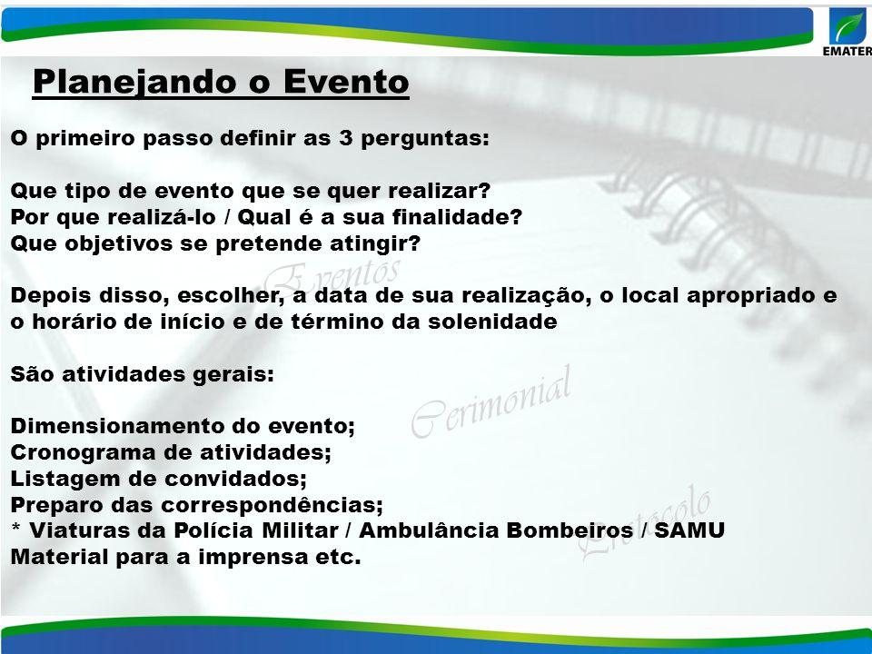 Eventos Cerimonial Protocolo O primeiro passo definir as 3 perguntas: Que tipo de evento que se quer realizar? Por que realizá-lo / Qual é a sua final