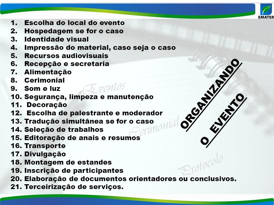 Eventos Cerimonial Protocolo 1. Escolha do local do evento 2. Hospedagem se for o caso 3. Identidade visual 4. Impressão do material, caso seja o caso