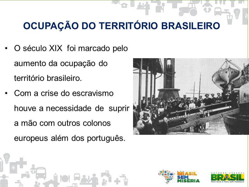 O século XIX foi marcado pelo aumento da ocupação do território brasileiro. Com a crise do escravismo houve a necessidade de suprir a mão com outros c