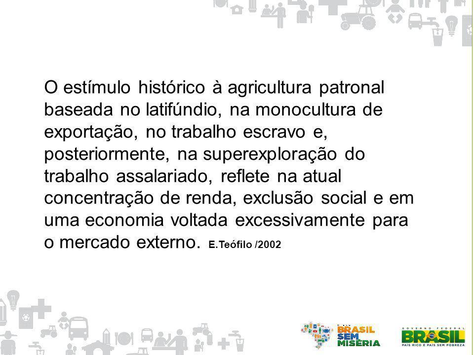 O estímulo histórico à agricultura patronal baseada no latifúndio, na monocultura de exportação, no trabalho escravo e, posteriormente, na superexplor