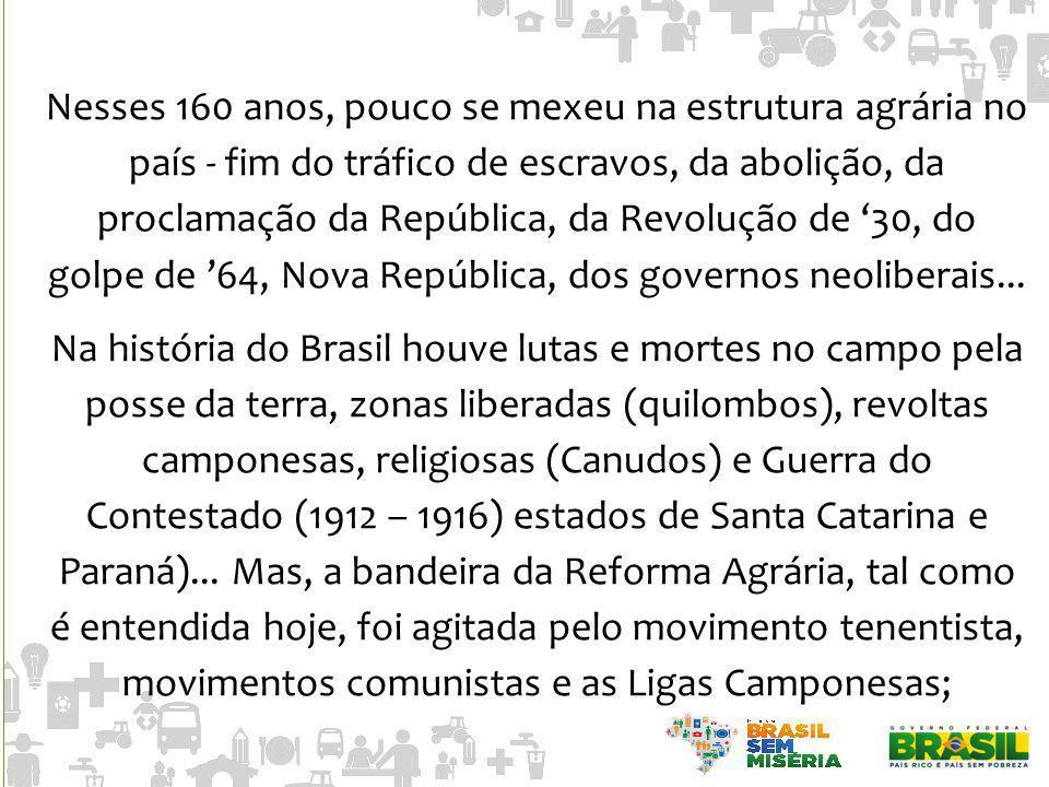 Nesses 160 anos, pouco se mexeu na estrutura agrária no país - fim do tráfico de escravos, da abolição, da proclamação da República, da Revolução de 3