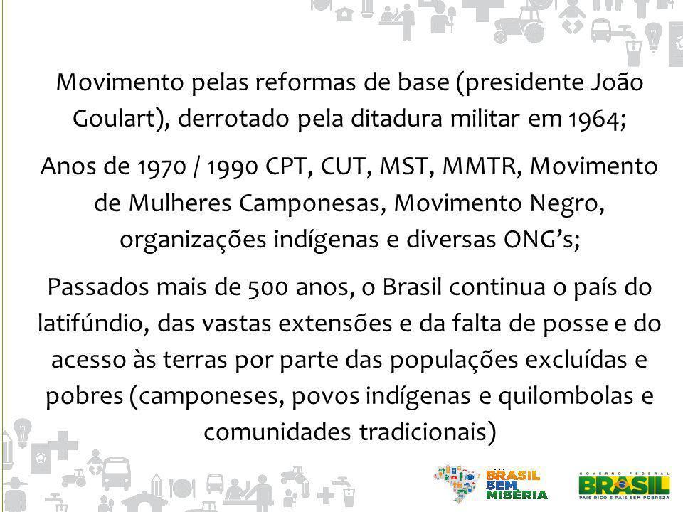 Movimento pelas reformas de base (presidente João Goulart), derrotado pela ditadura militar em 1964; Anos de 1970 / 1990 CPT, CUT, MST, MMTR, Moviment