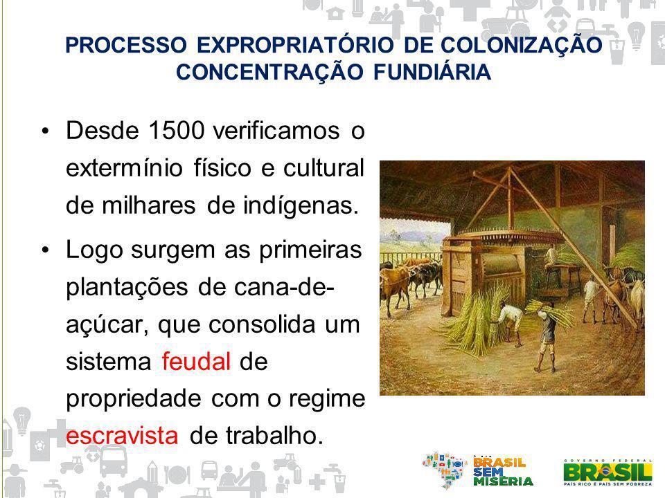 PROCESSO EXPROPRIATÓRIO DE COLONIZAÇÃO CONCENTRAÇÃO FUNDIÁRIA Desde 1500 verificamos o extermínio físico e cultural de milhares de indígenas. Logo sur