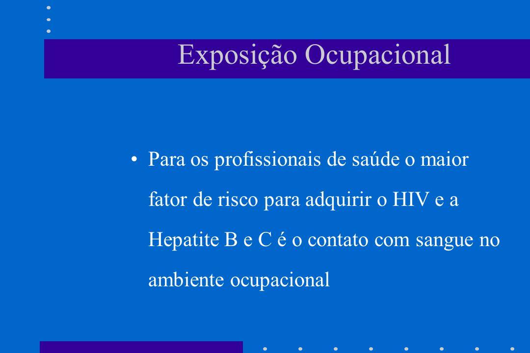 Exposição Ocupacional Para os profissionais de saúde o maior fator de risco para adquirir o HIV e a Hepatite B e C é o contato com sangue no ambiente