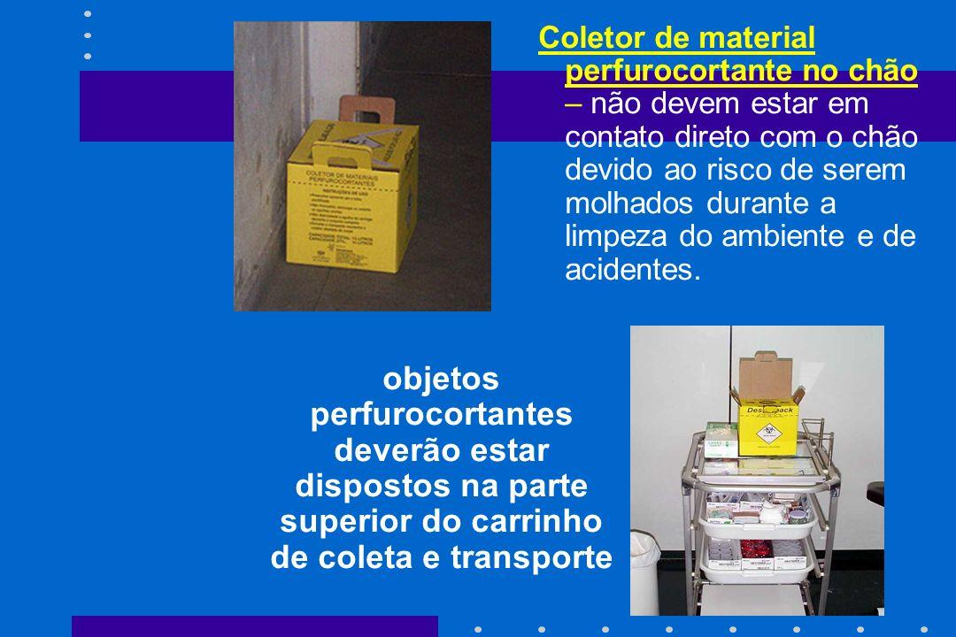 Coletor de material perfurocortante no chão – não devem estar em contato direto com o chão devido ao risco de serem molhados durante a limpeza do ambi