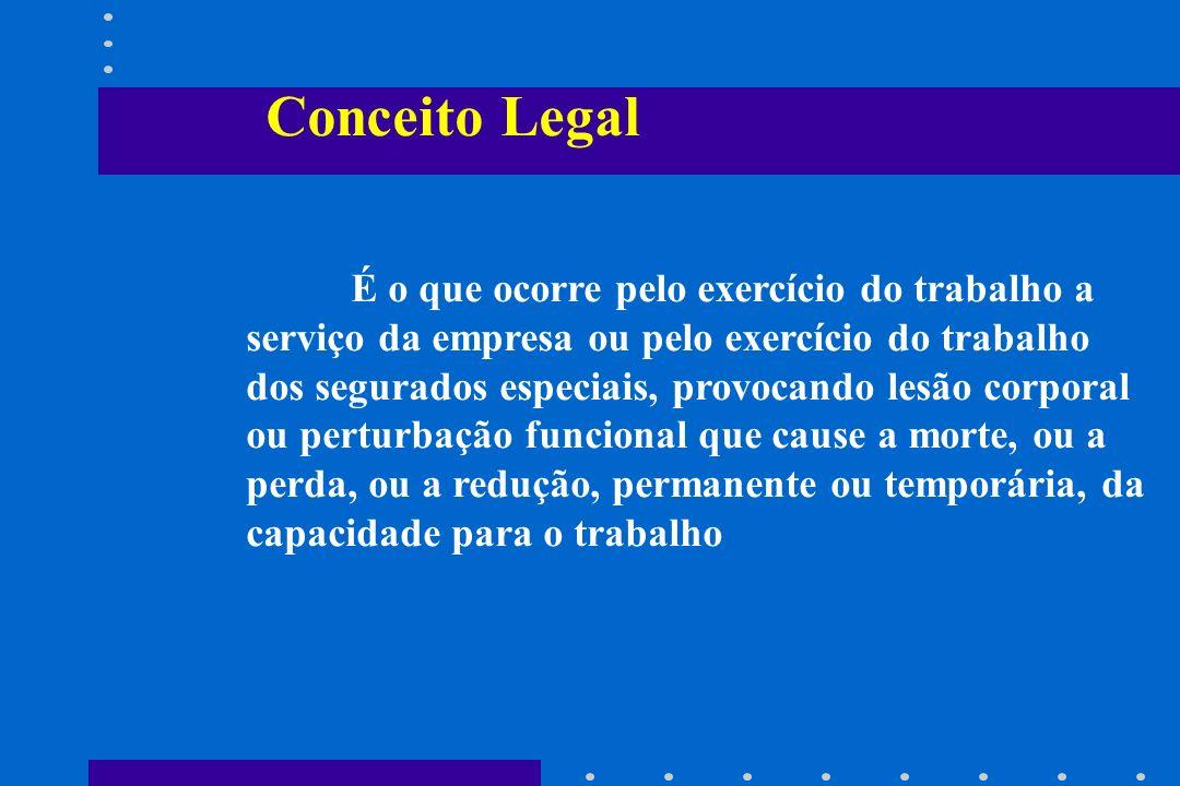 Conceito Legal É o que ocorre pelo exercício do trabalho a serviço da empresa ou pelo exercício do trabalho dos segurados especiais, provocando lesão