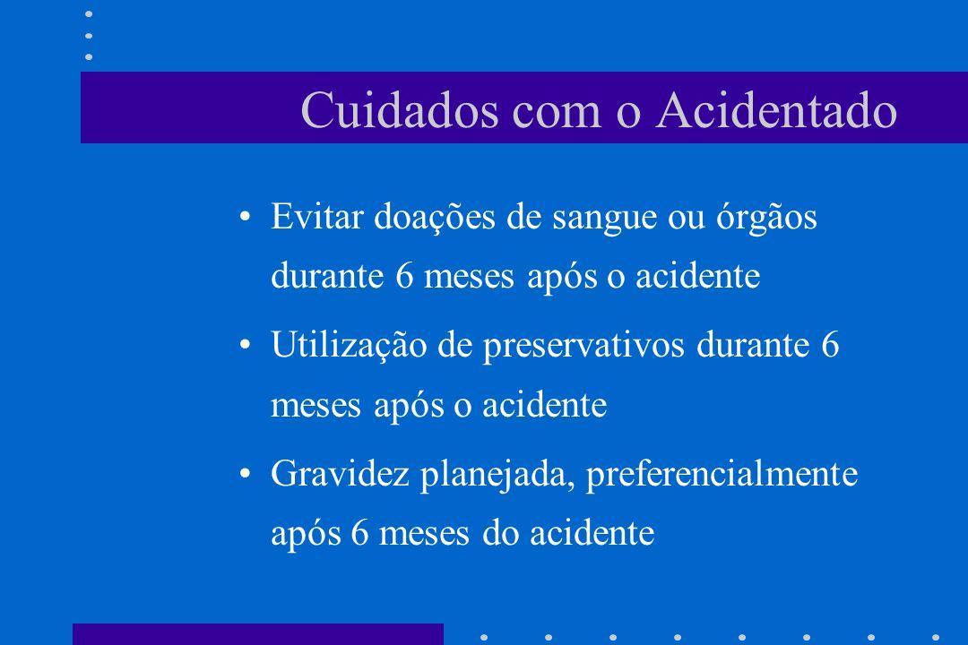 Cuidados com o Acidentado Evitar doações de sangue ou órgãos durante 6 meses após o acidente Utilização de preservativos durante 6 meses após o aciden
