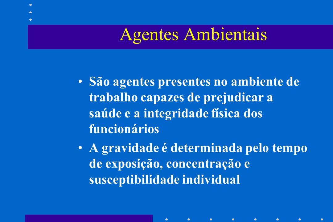 Agentes Ambientais São agentes presentes no ambiente de trabalho capazes de prejudicar a saúde e a integridade física dos funcionários A gravidade é d