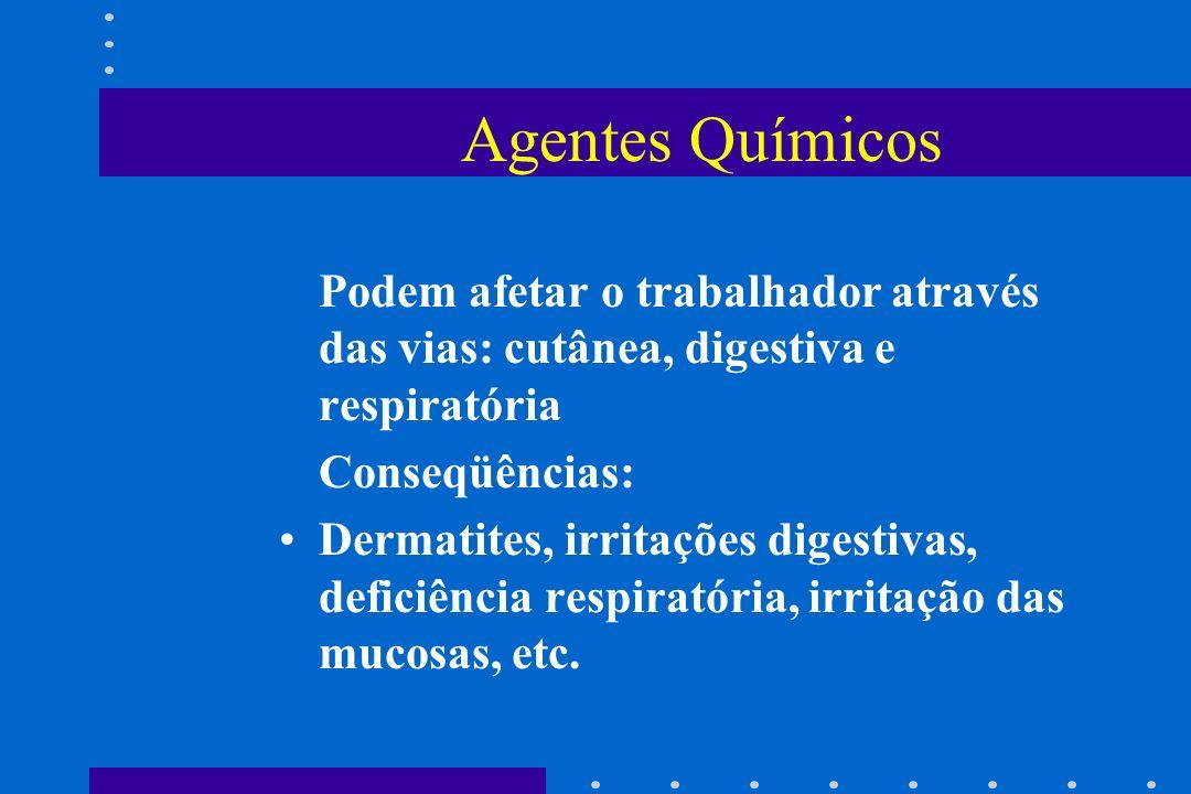 Agentes Químicos Podem afetar o trabalhador através das vias: cutânea, digestiva e respiratória Conseqüências: Dermatites, irritações digestivas, defi