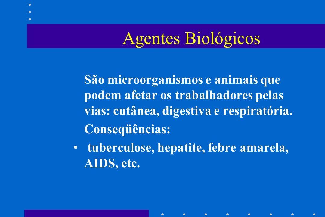 Agentes Biológicos São microorganismos e animais que podem afetar os trabalhadores pelas vias: cutânea, digestiva e respiratória. Conseqüências: tuber