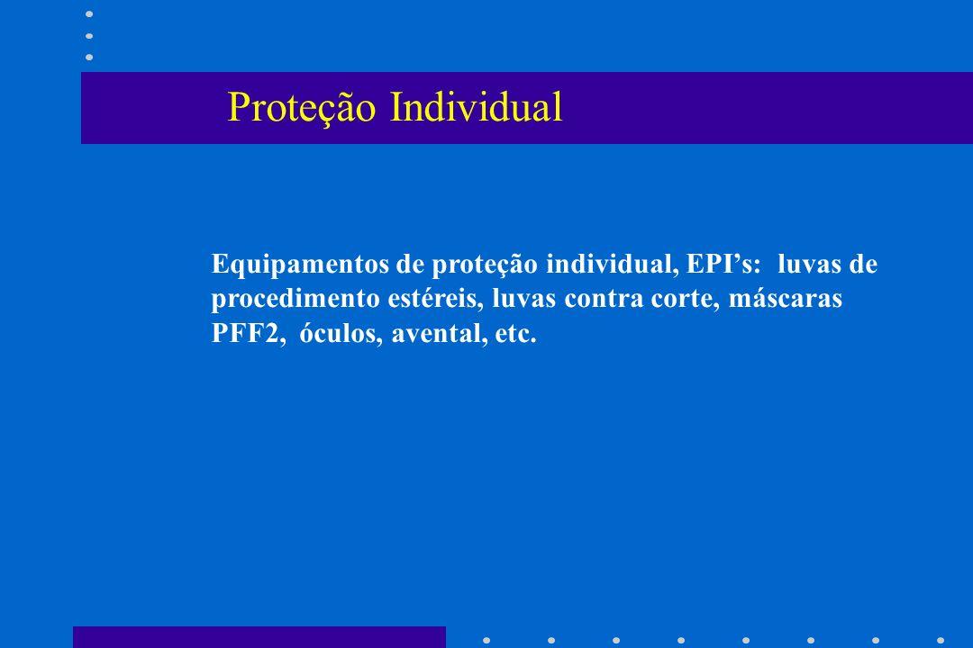 Proteção Individual Equipamentos de proteção individual, EPIs: luvas de procedimento estéreis, luvas contra corte, máscaras PFF2, óculos, avental, etc