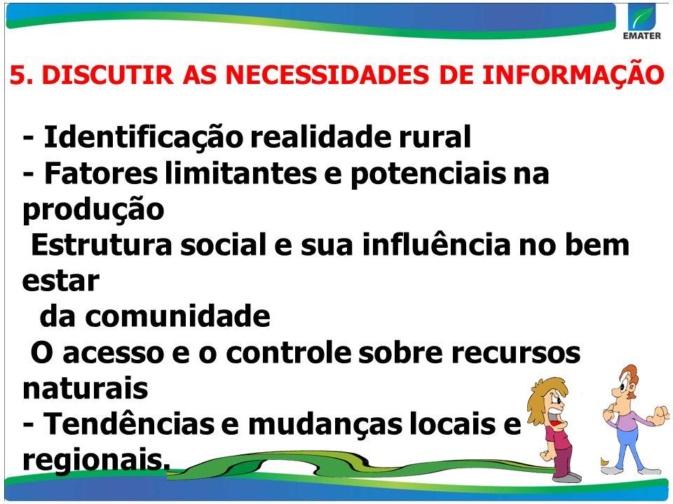 5. DISCUTIR AS NECESSIDADES DE INFORMAÇÃO - Identificação realidade rural - Fatores limitantes e potenciais na produção Estrutura social e sua influên