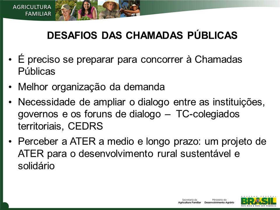 É preciso se preparar para concorrer à Chamadas Públicas Melhor organização da demanda Necessidade de ampliar o dialogo entre as instituições, governo