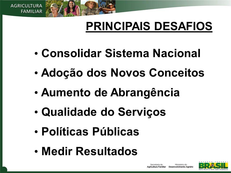 PRINCIPAIS DESAFIOS Consolidar Sistema Nacional Adoção dos Novos Conceitos Aumento de Abrangência Qualidade do Serviços Políticas Públicas Medir Resul