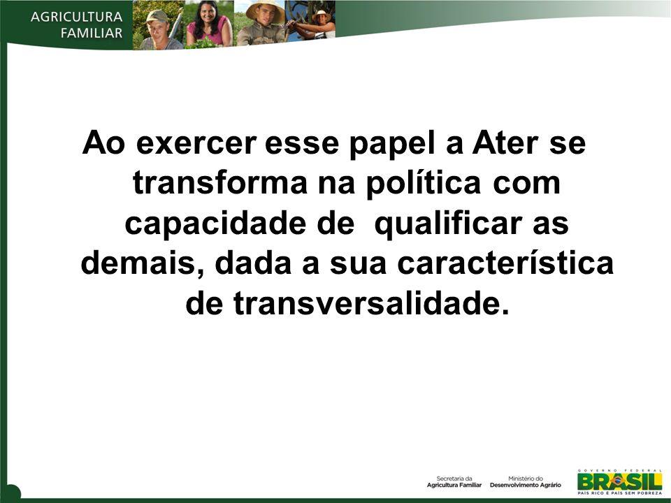 Ao exercer esse papel a Ater se transforma na política com capacidade de qualificar as demais, dada a sua característica de transversalidade.