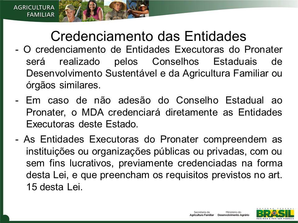 Credenciamento das Entidades - O credenciamento de Entidades Executoras do Pronater será realizado pelos Conselhos Estaduais de Desenvolvimento Susten