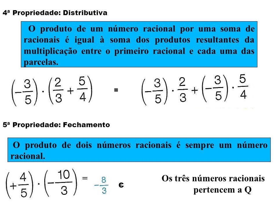 4ª Propriedade: Distributiva = 5ª Propriedade: Fechamento Є O produto de um número racional por uma soma de racionais é igual à soma dos produtos resu