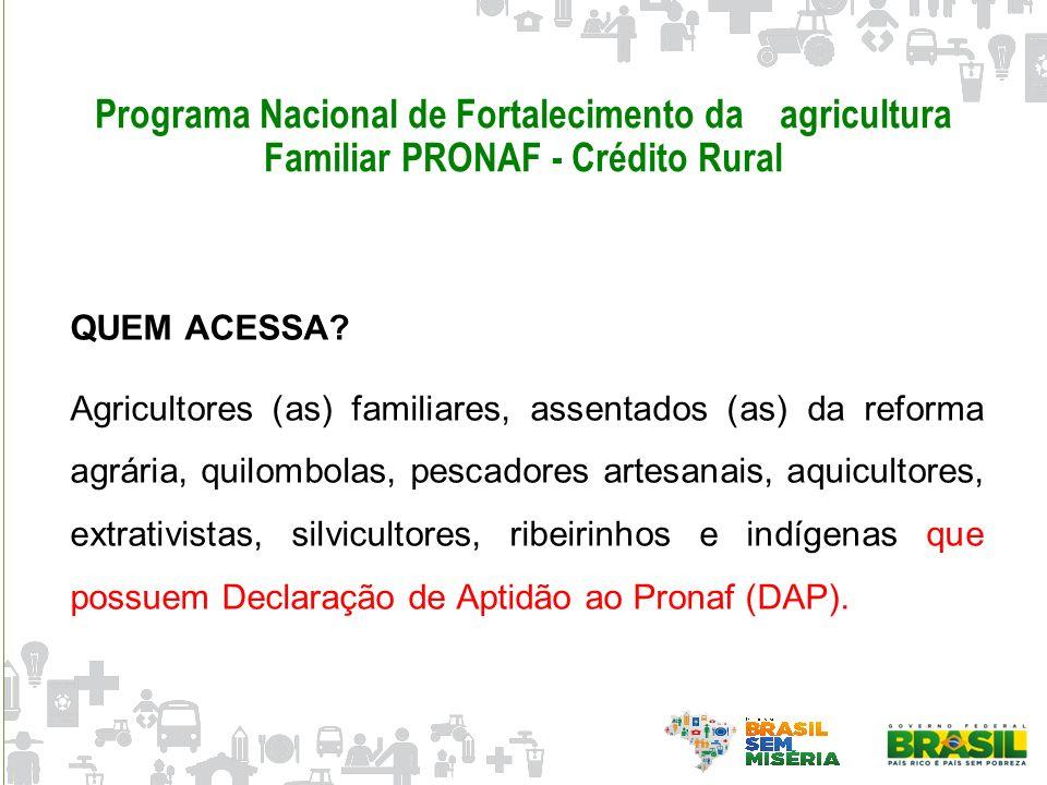 Programa Nacional de Fortalecimento da agricultura Familiar PRONAF - Crédito Rural QUEM ACESSA? Agricultores (as) familiares, assentados (as) da refor