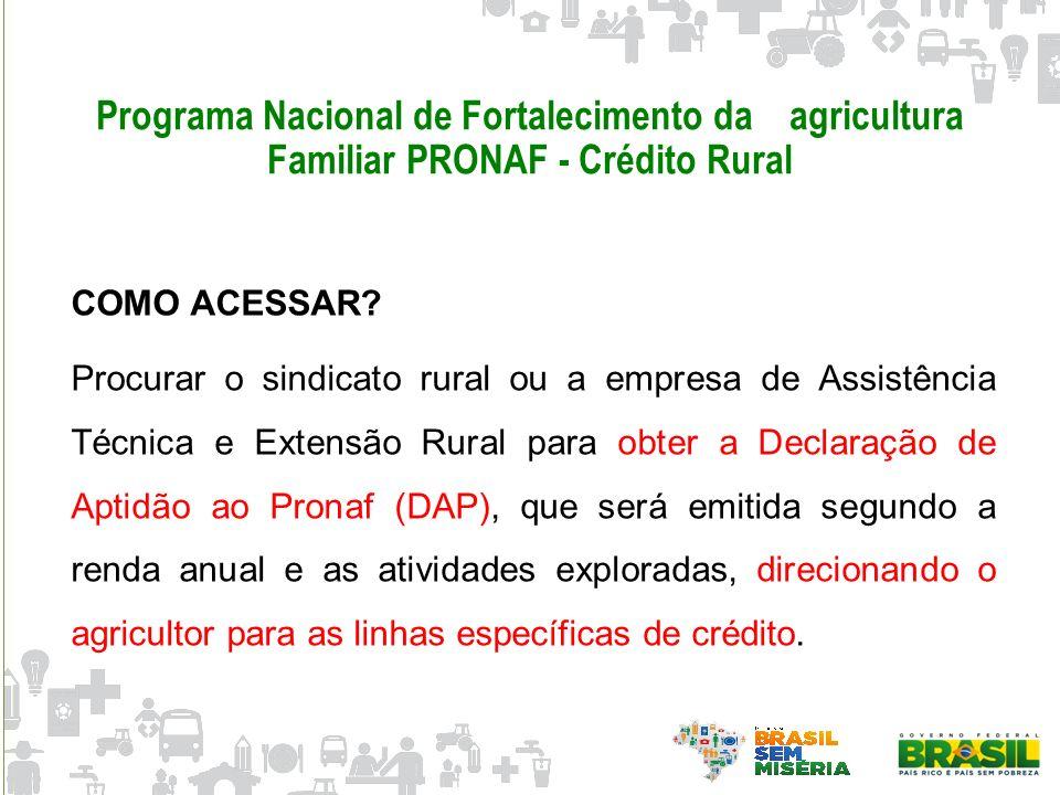 Programa Nacional de Fortalecimento da agricultura Familiar PRONAF - Crédito Rural COMO ACESSAR? Procurar o sindicato rural ou a empresa de Assistênci