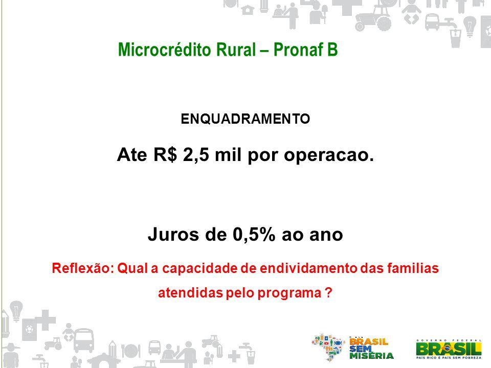 Microcrédito Rural – Pronaf B ENQUADRAMENTO Ate R$ 2,5 mil por operacao. Juros de 0,5% ao ano Reflexão: Qual a capacidade de endividamento das familia