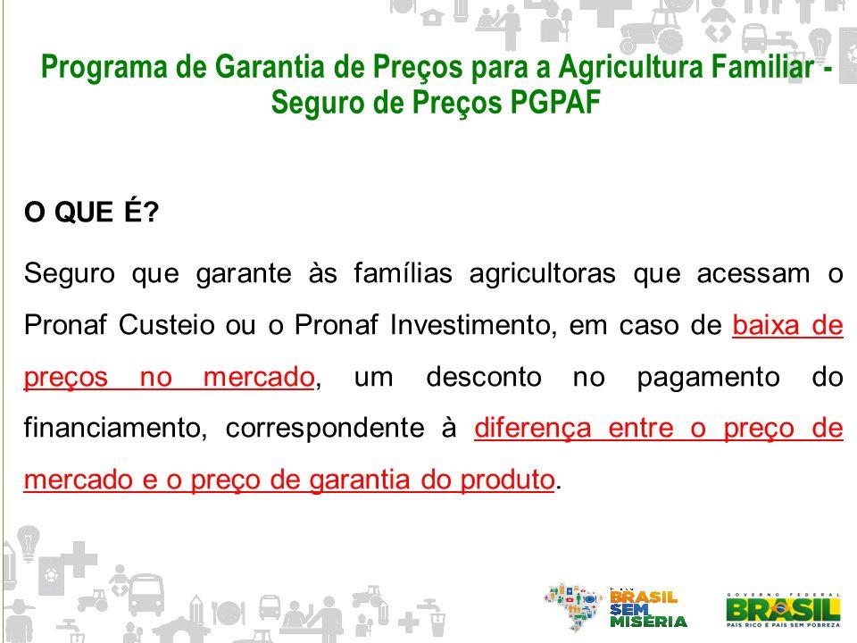 Programa de Garantia de Preços para a Agricultura Familiar - Seguro de Preços PGPAF O QUE É? Seguro que garante às famílias agricultoras que acessam o
