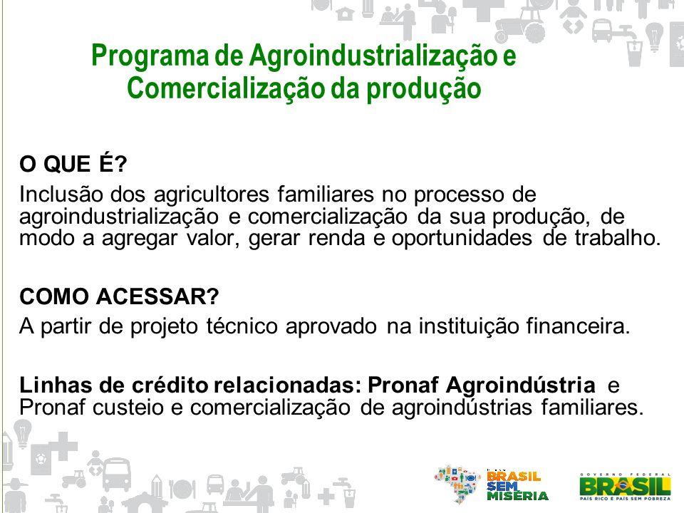 Programa de Agroindustrialização e Comercialização da produção O QUE É? Inclusão dos agricultores familiares no processo de agroindustrialização e com