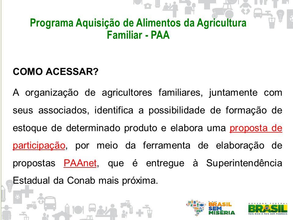 Programa Aquisição de Alimentos da Agricultura Familiar - PAA COMO ACESSAR? A organização de agricultores familiares, juntamente com seus associados,