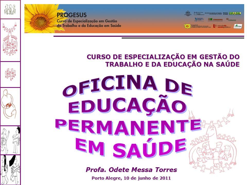 Curso de Pós-Graduação em Saúde Coletiva – Módulo V – Profa. Odete Messa Torres CURSO DE ESPECIALIZAÇÃO EM GESTÃO DO TRABALHO E DA EDUCAÇÃO NA SAÚDE P