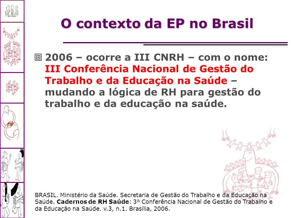 O contexto da EP no Brasil 2006 – ocorre a III CNRH – com o nome: III Conferência Nacional de Gestão do Trabalho e da Educação na Saúde – mudando a ló