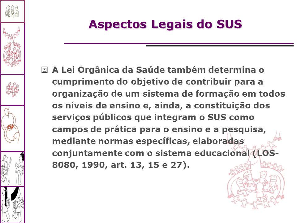 Aspectos Legais do SUS A Lei Orgânica da Saúde também determina o cumprimento do objetivo de contribuir para a organização de um sistema de formação e