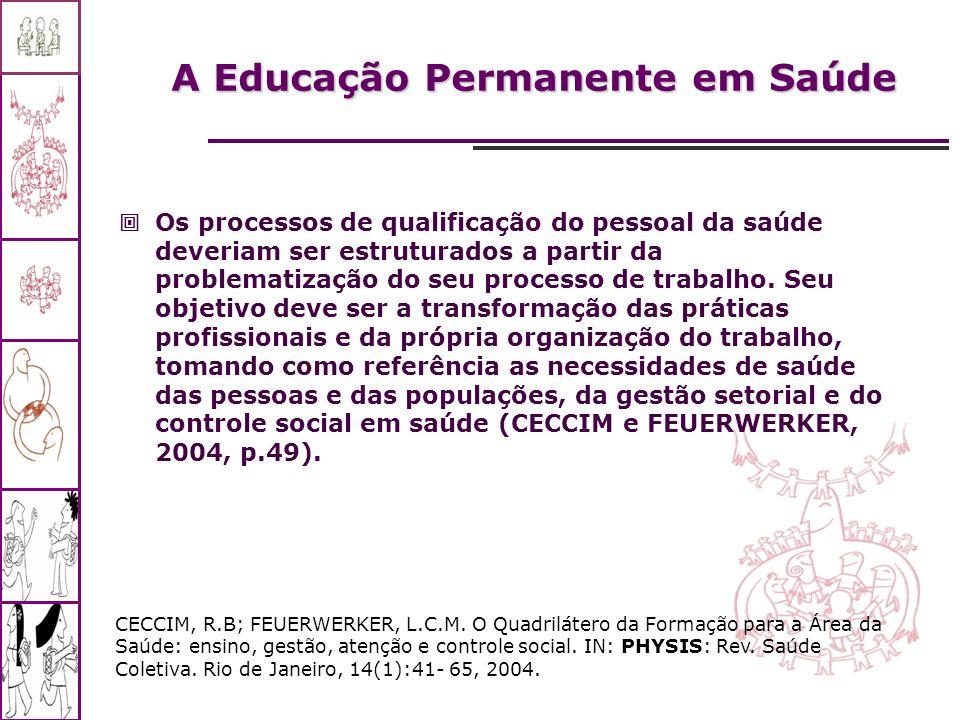 A Educação Permanente em Saúde Os processos de qualificação do pessoal da saúde deveriam ser estruturados a partir da problematização do seu processo