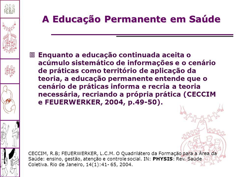 A Educação Permanente em Saúde Enquanto a educação continuada aceita o acúmulo sistemático de informações e o cenário de práticas como território de a