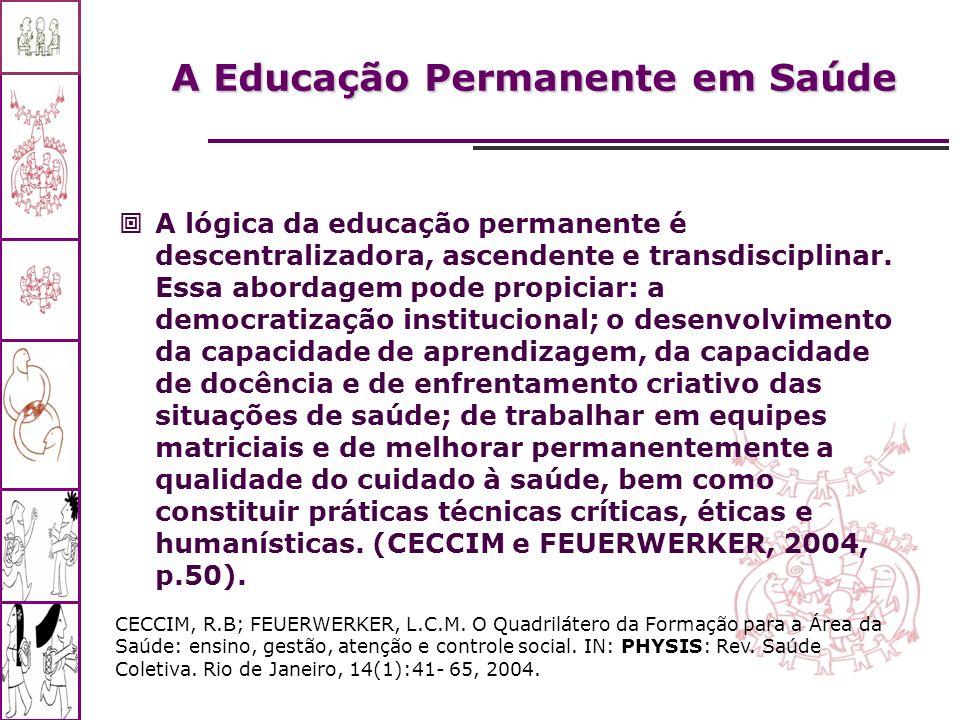A Educação Permanente em Saúde A lógica da educação permanente é descentralizadora, ascendente e transdisciplinar. Essa abordagem pode propiciar: a de