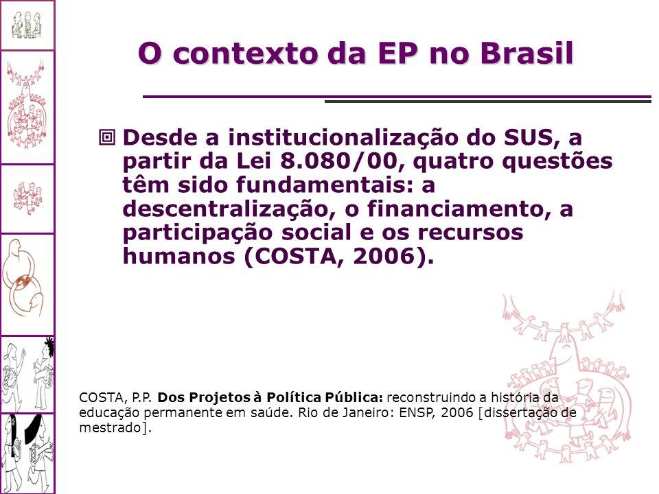 Desde a institucionalização do SUS, a partir da Lei 8.080/00, quatro questões têm sido fundamentais: a descentralização, o financiamento, a participaç